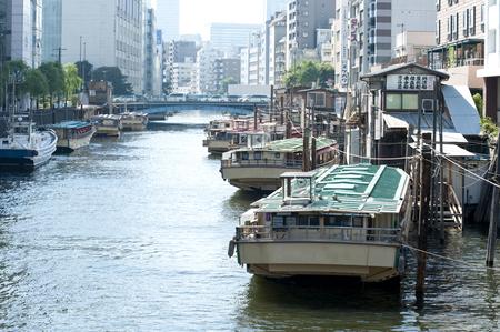 pleasure ship: Houseboat of Kanda River Stock Photo