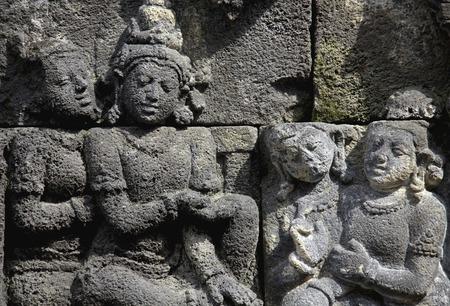 borobudur: Relief of Borobudur temple ruins Stock Photo