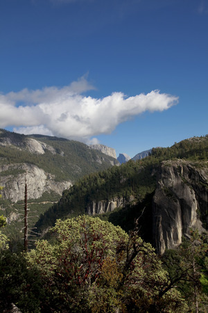 distant spot: Scenery from the observation deck overlooking the Half Dome in the distance