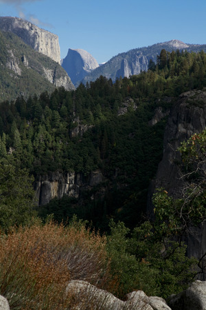 Scenery from the observation deck overlooking the Half Dome in the distance
