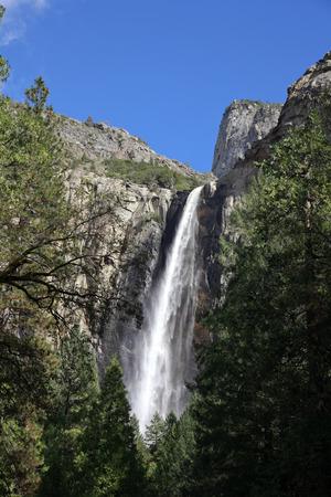 distant spot: Bridal Veil falls in Yosemite National Park Stock Photo
