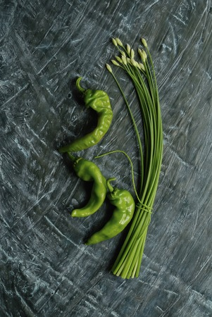 point and shoot: Green back of flower leek and green pepper