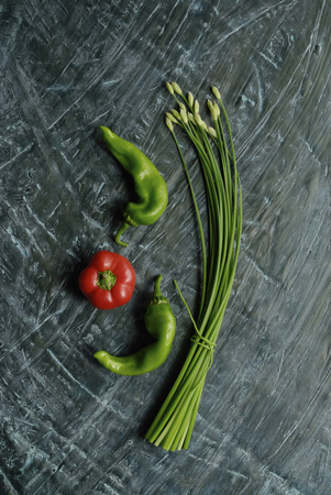 point and shoot: Green back of flower leek and green pepper and red pepper