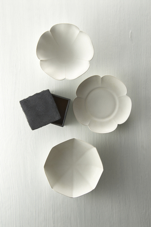 tableware: White Japanese Tableware Stock Photo