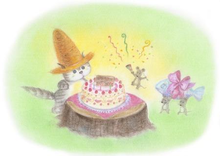 Cat birthday was wearing a straw hat