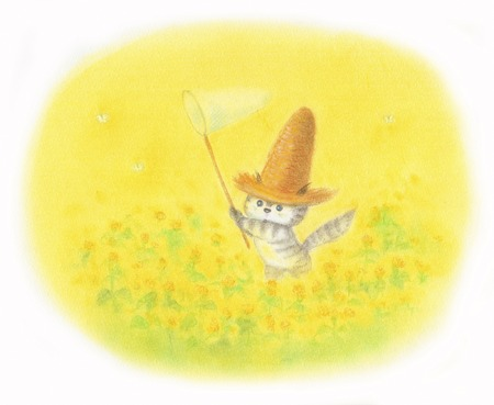 straw hat: Cat rape field wearing a straw hat