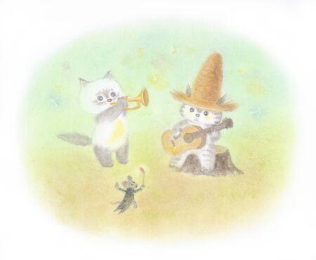 麦わら帽子をかぶって猫コンサート