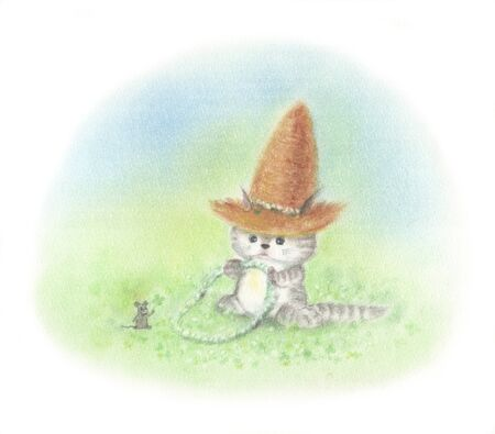straw hat: Cat clover field wearing a straw hat