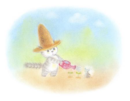 Cat Futaba you wearing a straw hat Stock Photo
