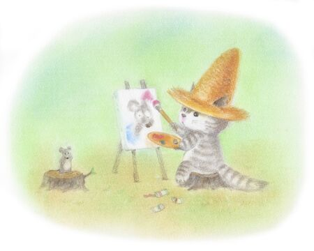 Cat tekening die droeg een strooien hoed Stockfoto