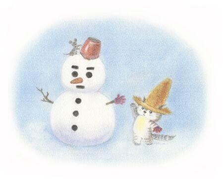chapeau paille: Cat bonhomme de neige coiff� d'un chapeau de paille