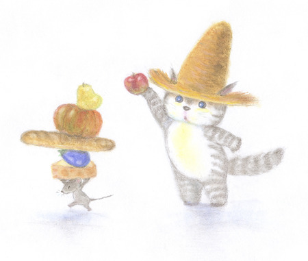 straw hat: Ill give cat, which also was wearing a straw hat