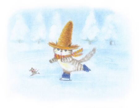 winter wheat: Cat skate that was wearing a straw hat