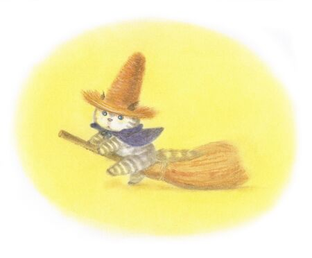 straw hat: Practice cat-fly wearing a straw hat Stock Photo