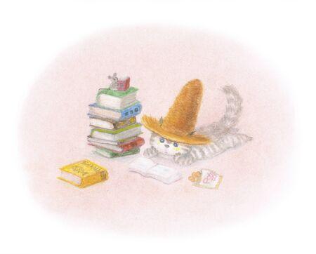 chapeau de paille: Autumn Cat lecture portant un chapeau de paille