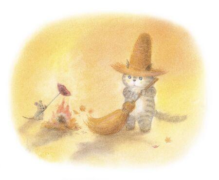 straw hat: Cat bonfire that was wearing a straw hat