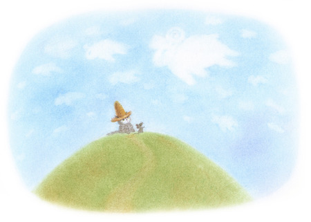 straw hat: Cat sheep clouds wearing a straw hat Stock Photo