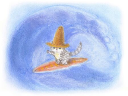 straw hat: Cat surfing that was wearing a straw hat Stock Photo