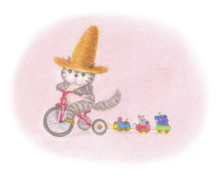 tricycle: Cat tricycle was wearing a straw hat Stock Photo