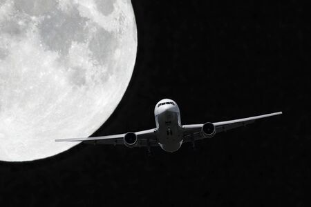 airliner: Full moon and airliner