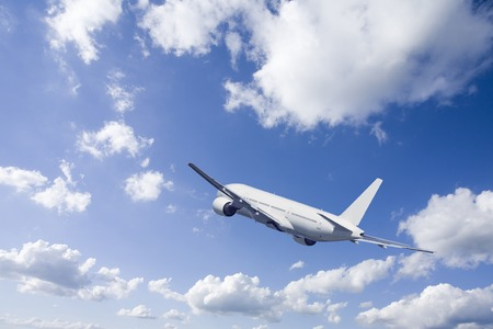 Passenger plane and clouds