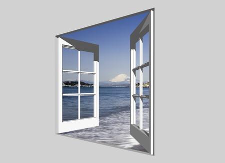 enoshima: Fuji from windows and Enoshima