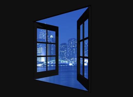ウィンドウの夜景からかちどき 写真素材