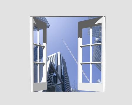 contrail: High-rise building from windows and contrail