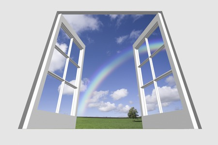 view through door: Trees and rainbow of one of grassland from window Stock Photo