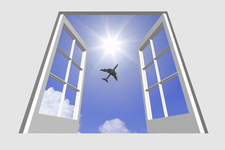 thunderhead: Airliner from windows and thunderhead and light Stock Photo