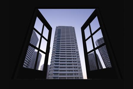 minato: Dusk of the Minato Mirai district from window