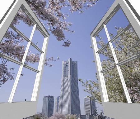 minato: Sakura from the window of the Minato Mirai Stock Photo