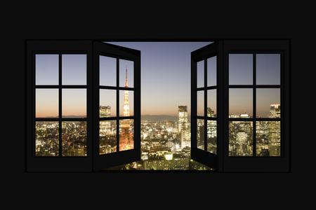 窓からの東京夜景