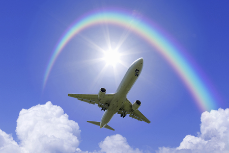 thundercloud: Planes and thunderhead and rainbow and light