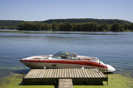 motorboat: Mississippi and motorboat Stock Photo