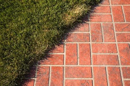 brick floor: Floor of lawn and brick