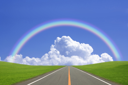 straight road: Thunderhead and rainbow and one straight road