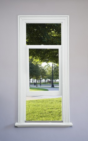 sunroom: Milton Lee Park from white window Stock Photo