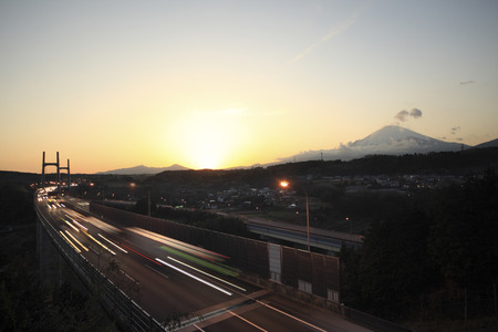 toge: Fuji and the Tomei Expressway dusk