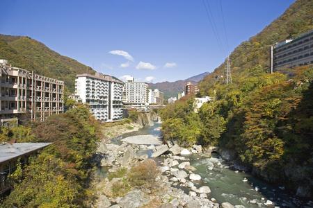onsen: Fall of Kinugawa Onsen Stock Photo