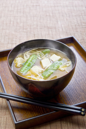 sheath: Miso soup of tofu and silk sheath Stock Photo