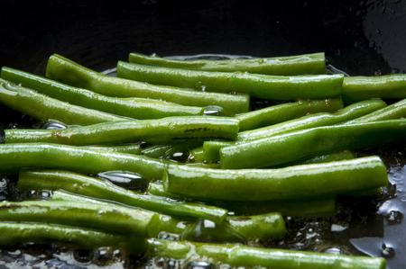 judia verde: judías verdes salteadas Foto de archivo