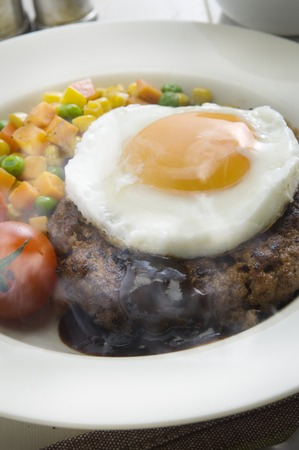 topped: Fried egg topped hamburger