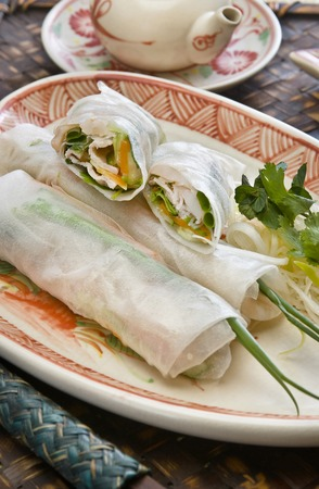 mam: Raw spring rolls Vietnam Stock Photo