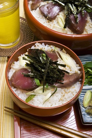 triple: Hand knead sushi triple Stock Photo