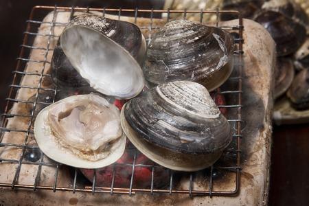 clams: Baked clams Stock Photo