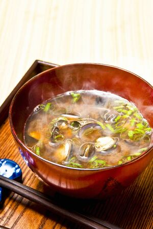 freshwater: Freshwater clam miso soup Stock Photo
