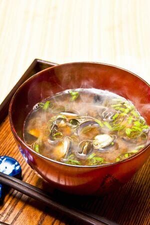 freshwater: Freshwater clam miso soup Stock Photo