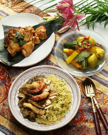 tandoori chicken: Seafood curry and tandoori chicken Stock Photo