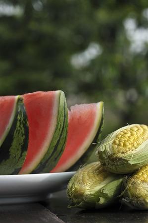 verandah: Watermelon and corn